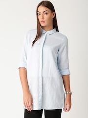 ETHER Blue Linen Top