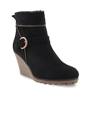 Bruno Manetti Women Black Suede Heeled Boots