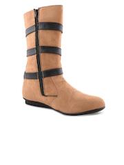Bruno Manetti Women Beige Suede Flat Boots
