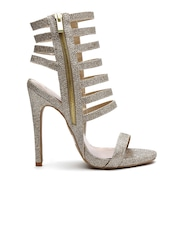 Qupid Women Muted Gold-Toned Shimmer Caged Stilettos
