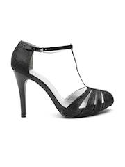 Qupid Women Black Shimmer Stilettos