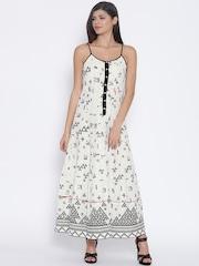 BIBA Off-White Self-Checked Printed Maxi Dress