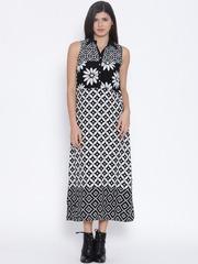 BIBA Black & White Printed Midi Dress