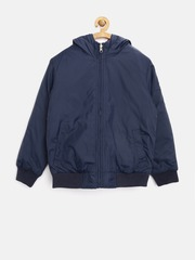 United Colors of Benetton Boys Navy & Red Reversible Hooded Jacket