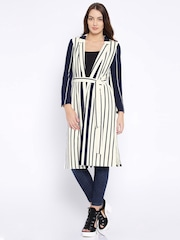 ONLY Navy & Off-White Striped Long Jacket