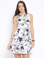 Pepe Jeans White & Grey Printed Fit & Flare Dress