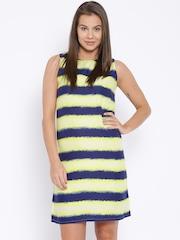 Pepe Jeans Yellow & Navy Striped Sheath Dress