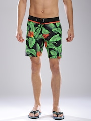 Quiksilver Green & Black Printed Surfing Shorts