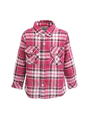 A Little Fable Boys Pink & White Checked Classic Fit Shirt