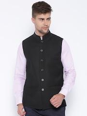 Theme Black Woollen Nehru Jacket