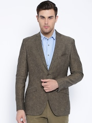Theme Brown Single-Breasted Linen Fitted Blazer