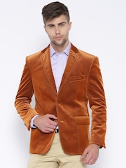 Theme Rust Orange Single-Breasted Slim Corduroy Blazer
