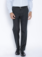 Theme Charcoal Grey Striped Formal Trousers