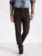 RDSTR Men Brown Solid Regular Fit Cargo Trousers