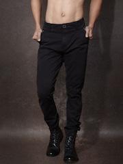 RDSTR Men Black Solid Jogger Trousers