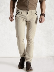 Roadster Beige Casual Trousers