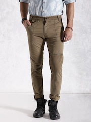 Roadster Men Brown Solid Cargo Trousers