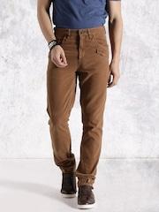 RDSTR Men Brown Flat-Front Trousers