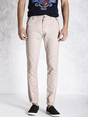 RDSTR Beige Washed Casual Trousers