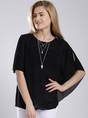 French Connection Black Semi-Sheer Top
