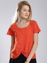 French Connection Orange Knotted T-shirt