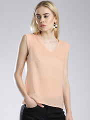 French Connection Peach-Coloured Semi-Sheer Top