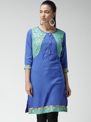 Anouk Blue & Green Printed Jacket Kurta
