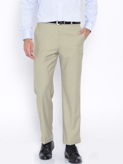 Park Avenue Beige Slim Fit Formal Trousers