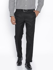 Park Avenue Black Super Slim Fit Formal Trousers