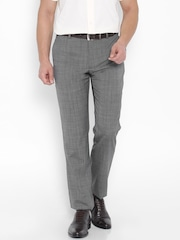 Park Avenue Grey Printed Smart Fit Formal Trousers