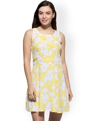 WISSTLER Yellow & White Floral Print A-Line Dress