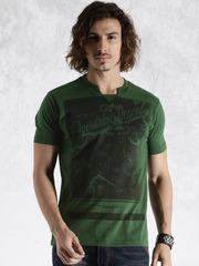 Roadster Green Printed T-shirt