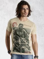Roadster Beige Printed T-shirt