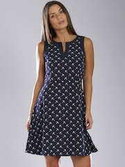 Tommy Hilfiger Navy Printed Fit & Flare Dress