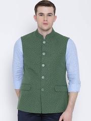 Van Heusen Green Linen Printed Nehru Jacket