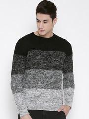 Kook N Keech Black & Grey Colourblocked Sweater
