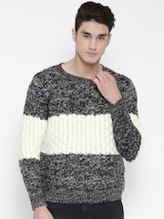 Kook N Keech Black & Off-White Colourblocked Sweater