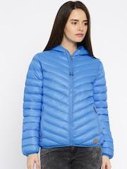 Kook N Keech Blue Hooded Quilted Jacket