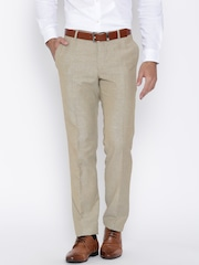 John Players Beige Slim Semiformal Trousers