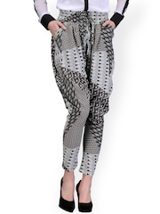 The Gud Look Grey & Black Printed Jodhpuri Trousers