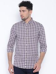 Jack & Jones Beige & Navy Checked Slim Fit Casual Shirt
