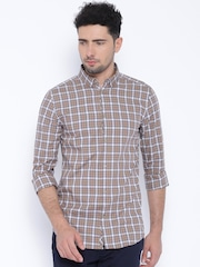 Jack & Jones Beige Checked Slim Fit Casual Shirt