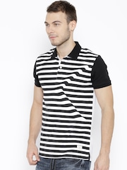 United Colors of Benetton Black Striped Illusion Effect Polo T-shirt