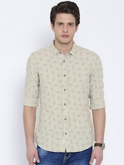 United Colors of Benetton Beige Linen Printed Casual Shirt