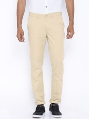 John Players Beige Slim Fit Chino Trousers