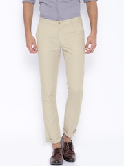 John Players Beige Slim Fit Linen Trousers
