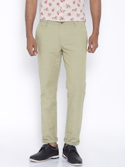 John Players Beige Slim Linen Casual Trousers