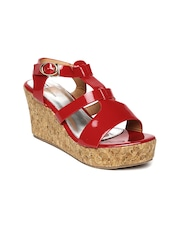 Footilicious Women Red Glossy Wedges