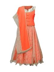 Peaches Girls Orange Lehenga Choli with Dupatta