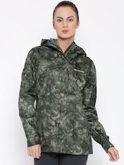Columbia Green Arcadia Camouflage Print Hooded Rain Jacket